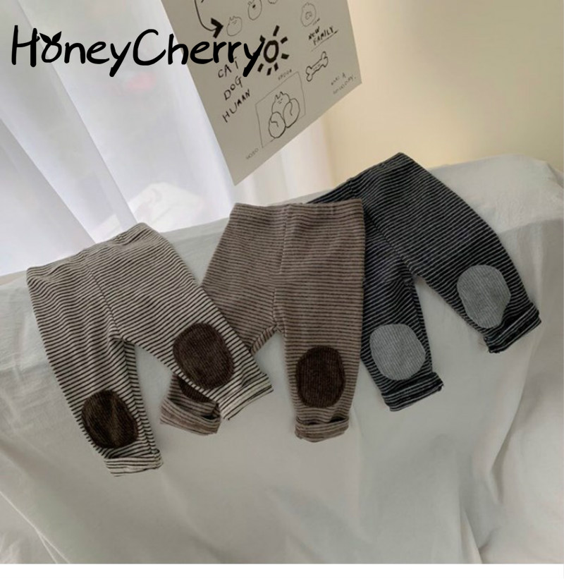 Spring And Autumn Baby Striped Leggings Baby Thickened Elastic Patch Pants Baby Girl Leggings Baby Girl Clothes