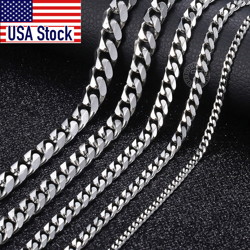 Size 3-9mm Men's Necklace Stainless Steel Cuban Link Chain Gold Black Silver Color Male Jewelry Gifts for Men KNM07 1
