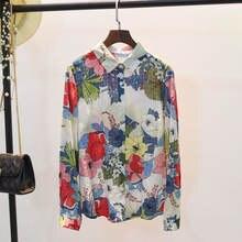 Рубашка женская винтажная на пуговицах с длинным рукавом 100%