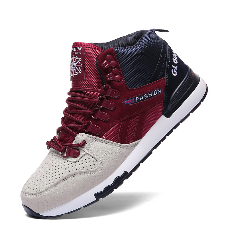 VSIOVRY New High-Top Sneakers Men Leather Breathable Running Shoes Athletic Sports For Men Jogging Gym Shoes Walking Sneakers