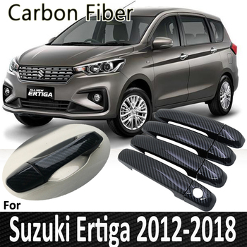 Black Carbon Fiber for Suzuki Ertiga 2012 2013 2014 2015 2016 2017 2018 Auto Door Handle Cover Sticker Decoration Car Accessorie image