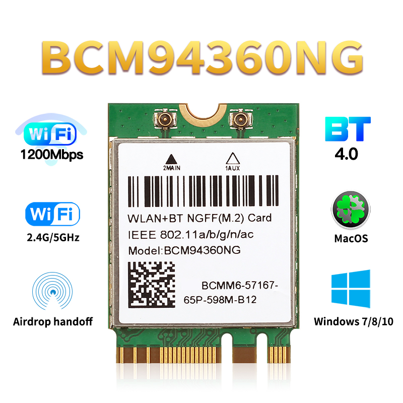 Wireless BCM94360NG MacOS Hackintosh 1200Mbps NGFF M.2 Wifi Card Bluetooth 4.0 Adapter 802.11ac 2.4G/5Ghz Than BCM94352Z DW1560(China)