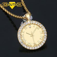 Personality Zircon Dial Pendant Hip Hop AAA CZ Stones Bling Iced Out Watch Shape For Men's Fashion Clock Rhinestone Jewelry Gift цена