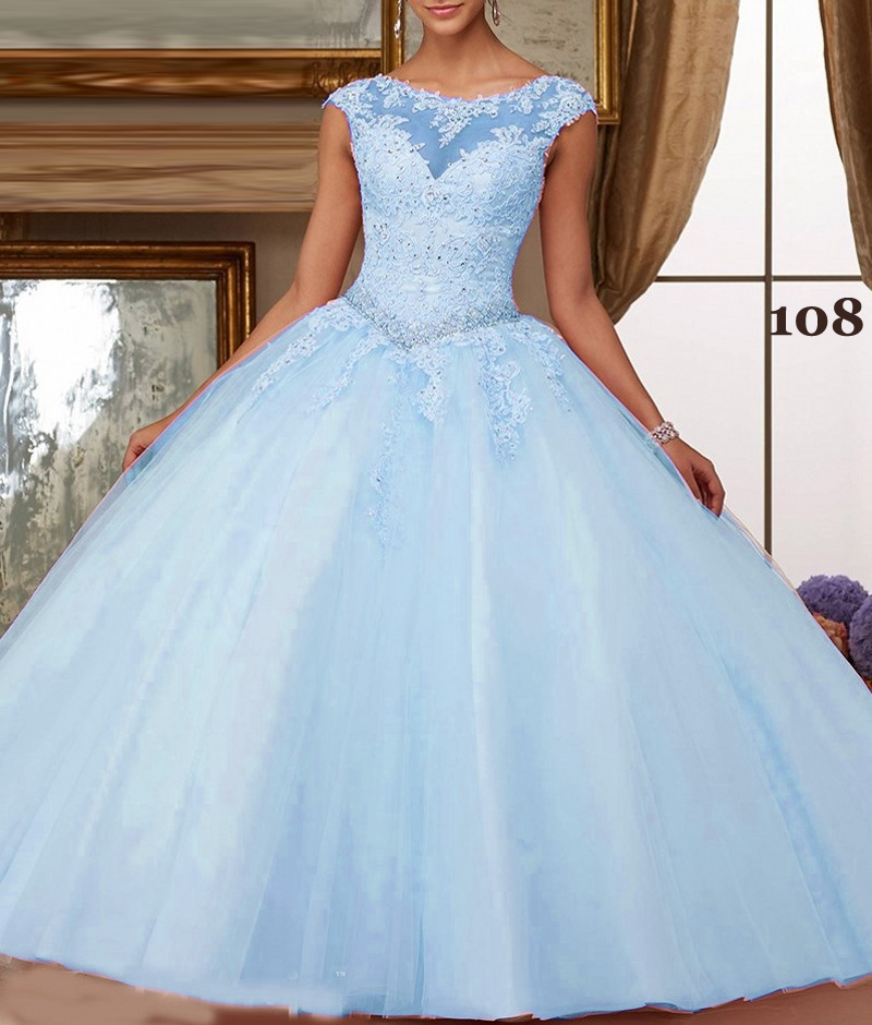 Custom Color illusion Tulle Quinceanera Dresses Appliques Beaded Crystal Ball Prom Gowns Sleeveless Cut-Out Back With Lace Up