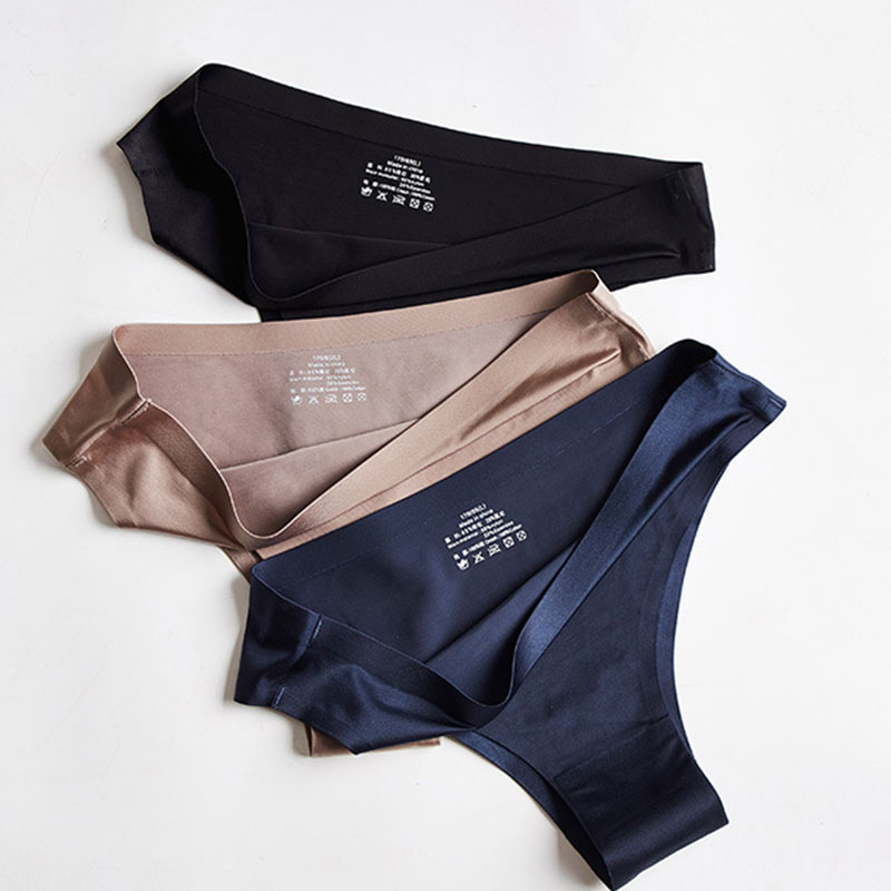 Seamless Panties Women Plus Size Briefs Nylon Ultra-thin G-string Thongs Low Rise Lingerie Ice Silk Briefs Lady Girls Underwear