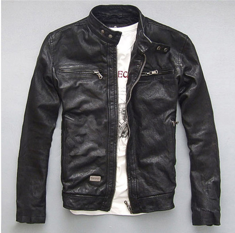 Leather Genuine 100% Jackets Mens Sheepskin Coat Chaqueta Cuero Hombre Leather Jacket Motorcycle Coats Plus Size WXF046 S
