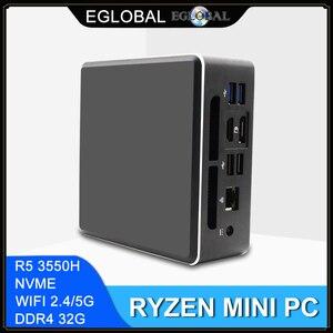 AMD Ryzen R5 Eglobal Mini PC мини пк with Vega 8 Graphic 4K UHD DP HDMI Gaming Computer Desktop PC Nvme SSD Max 32GB DDR4