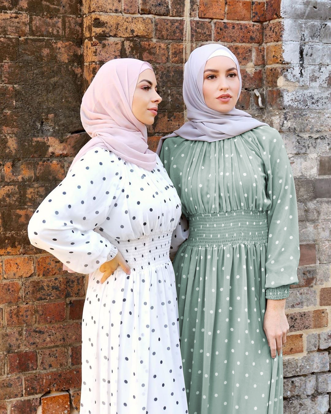 Long sleeve small fresh long dress chiffon skin-friendly slimming long dresst classic polka dot ladies and ankle long dress