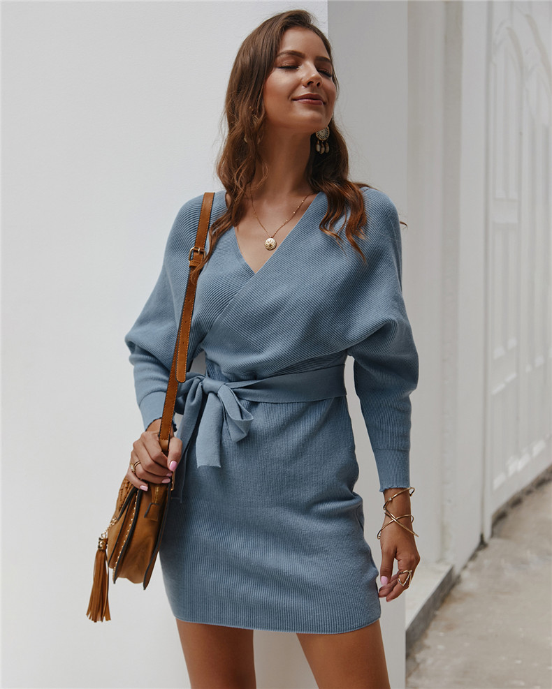 Long Sleeve Sashes Tied Knitted Wrap Sweater Dress 5