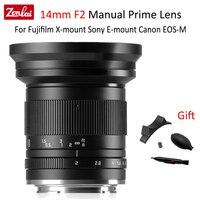 Zonlai 14mm f2 APS-C lente de câmera ultra ampla foco manual lente principal para fujifilm fuji x-montagem canon EOS-M sony e montagem câmeras
