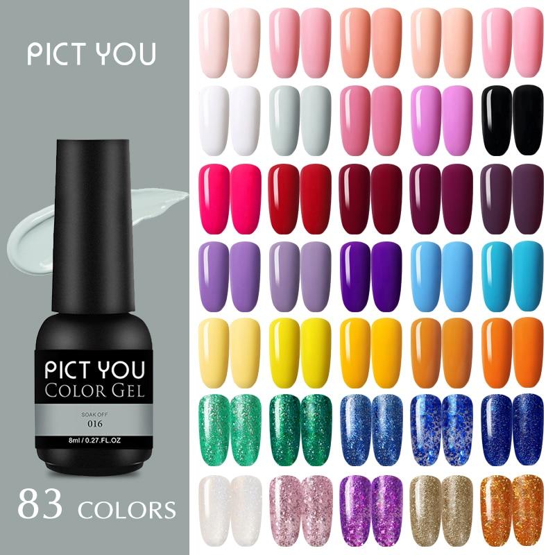 Гель-лак для ногтей PICT YOU, 8 мл, блестящий лак, блестки, удаляемый замачиванием розовый, нюдовый цвет, постоянный органический УФ светодиодный...