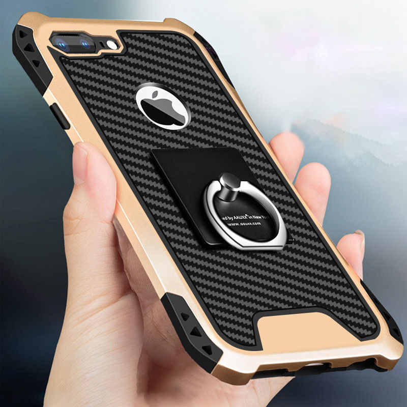 Fashion-Shockproof-Armor-Kickstand-Phone-Case-For-iPhone-XS-X-6-6S-7-8-Plus-Finger