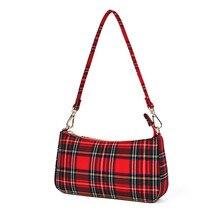 цены Fashion Designer Baguette Bag For Women  Red plaid Handbag High Quality Canvas Shoulder Crossbody Bag Beautiful Handbag