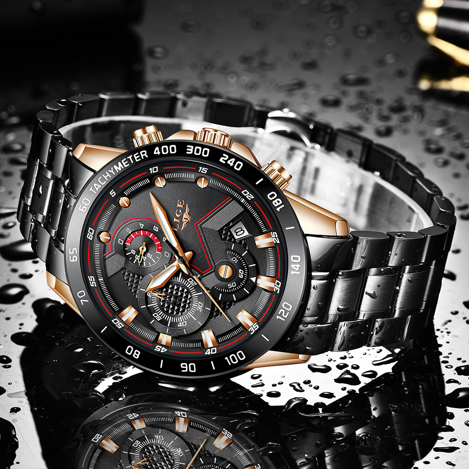 H679bc4a23796428ab6959dbec89f38e8T LIGE Men Watches Top Brand Luxury Stainless Steel Blue Waterproof Quartz Watch Men Fashion Chronograph Male Sport Military Watch