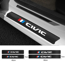 4PCS Carbon Fiber Car Door Sill Guard Protected Leather Stickers For Honda Civic 10th 8th Type R 2008 2012 2018 2006 Accessories