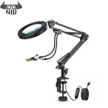 Usb-Lamp Soldering-Station Third-Hand DANIU with 2pcs Flexible Arms Magnifier LED 5X