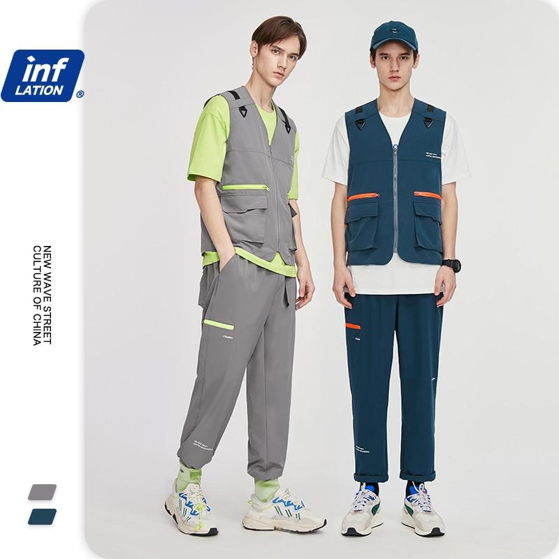 INFLATION Men Cargo Suit 2020 Style Streetwear Boy Summer Tracksuit Men Harem Pants With Elastic Waist Mens Utility Pack Gilet