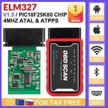 ELM327-chip para leitor de código Android/IOS/PC Torque OBDII, com Bluetooth V1.5 PIC18F25K80, wi-fi de 4mHz cristal, ELM327 USB FTDI