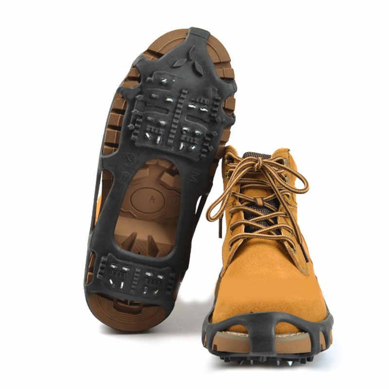 Caminar antideslizante en la pinza de zapatos de invierno 24 dientes de hielo pinza de zapato picos nieve zapato cubierta botas de hielo al aire libre picos hielo Chip