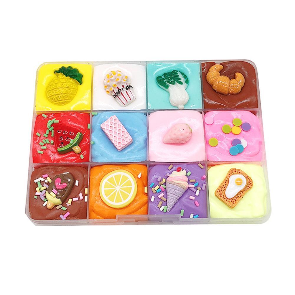 KIds Slime Toy 12 Cream Puff Dish Shape Cotton Slime Clay Fluffy Putty Mud Anti Stress Kids Toy Developmental Toy