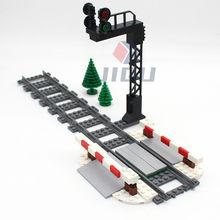 MOC City Train Track Model Train Track Rail Traffic Lights Aisle Barrier Pole city signal lamp Set High-tech Building Block Toys