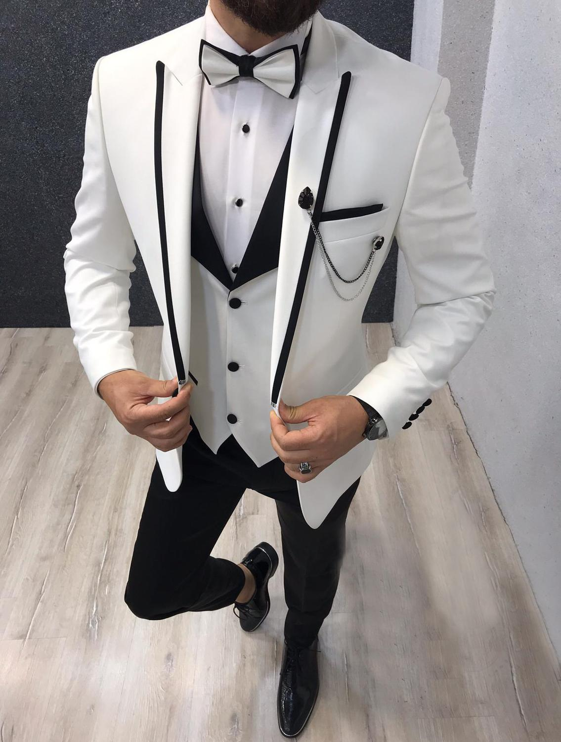 Men Suits 3 Pieces Slim Fit Casual Business Groomsmen Grey Green Ivory Lapel Tuxedos For Formal Wedding(Blazer+Pants+Vest)