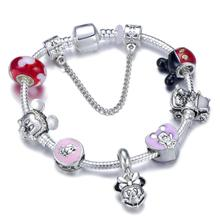 Hot Sale Mickey Minnie Classic Car Charm Bracelet With Pendant Snake Chain bracelet For Women Children Jewelry Gift
