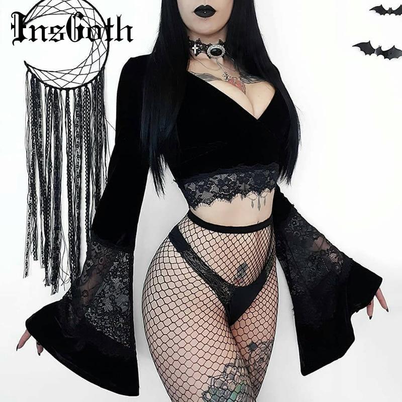 InsGoth Sexy Frauen Gothic Crop Top Flare Langarm Spitze Aushöhlen Schwarz T-shirt Retro Bodycon Weiblichen V-ausschnitt Tops Elegante top