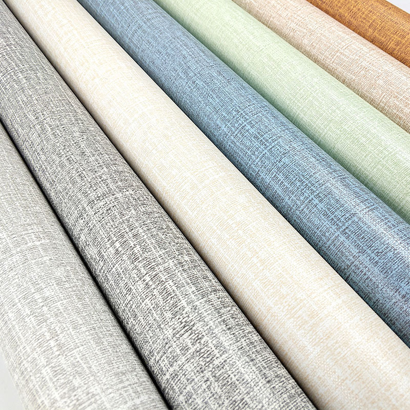 Linen Finish Wallpaper Self-Adhesive Imitation Linen Finish Wallpaper Plain Color Bedroom Living Room PVC Solid Color Linen Fini
