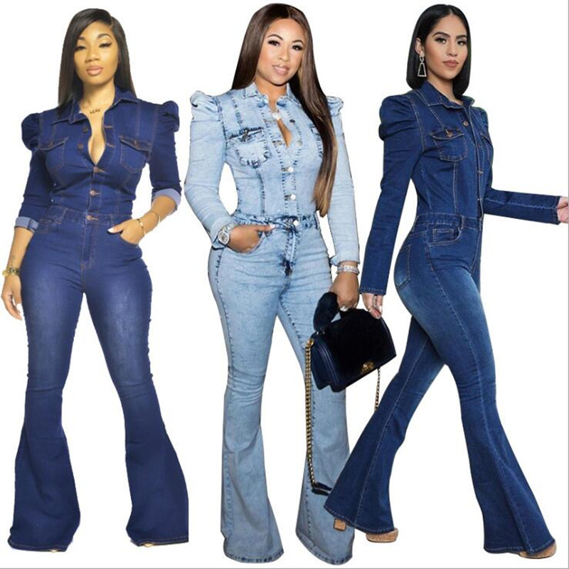 Winter Frauen Dünne Schlank Overall Volle Hülse Denim Flare Jeans Strampler Sexy Nacht Club Party One Piece Bandage Outfits GLT183