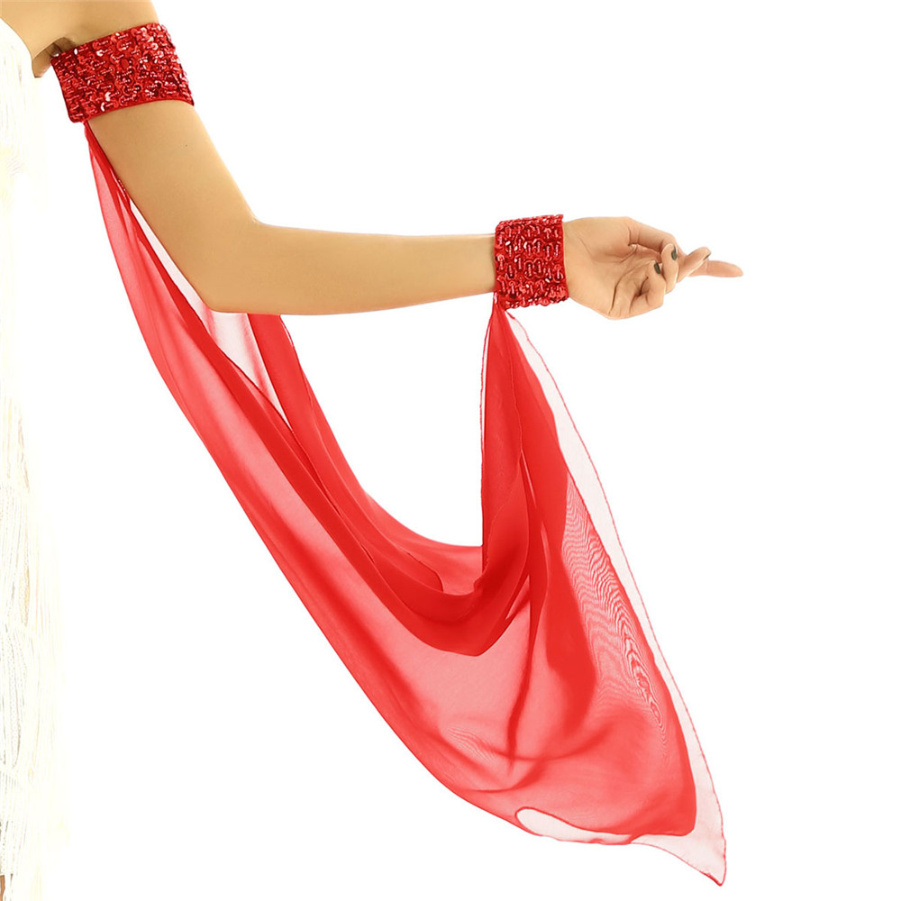 Women Shiny Sequins Chiffon Oversleeve Hook And Loop Fastening Arm Cuff With Bright Beads Belly Dance Costume Accessories