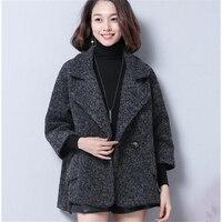 2019 Winter Clothing Short Wool Coat Women Coat Korean Autumn Woolen Coat Fashion A buckle Nine points sleeve Jacket Cloak type