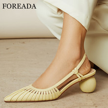FOREADA Women Pumps Slingbacks Real Leather Strange Style High Heel Shoes Sheepskin Pointed Toe Pumps Lady Party Footwear Yellow цена 2017