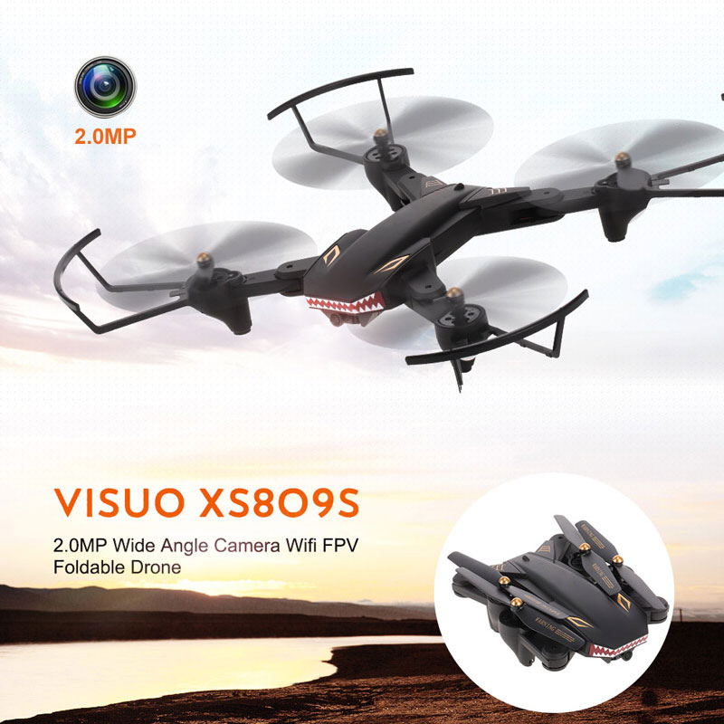 XS809S quadrocopter WiFi Wide Angle 2 Megapixel Version Shark Head cartoon drone with camera Foldable Drones Quadcopter RC Dron