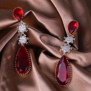 Image 5 - Rosa Farbe Zirkon Ohrringe Luxus Lange Wasser Tropfen Form CZ Stein Elagant lady Ohrringe Schmuck für Hochzeit XIUMEIYIZU neue