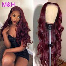 Wigs Human-Hair-Wigs Lace-Front Brazilian Virgin-Lace Body-Wave 99J Burgundy Pre-Plucked