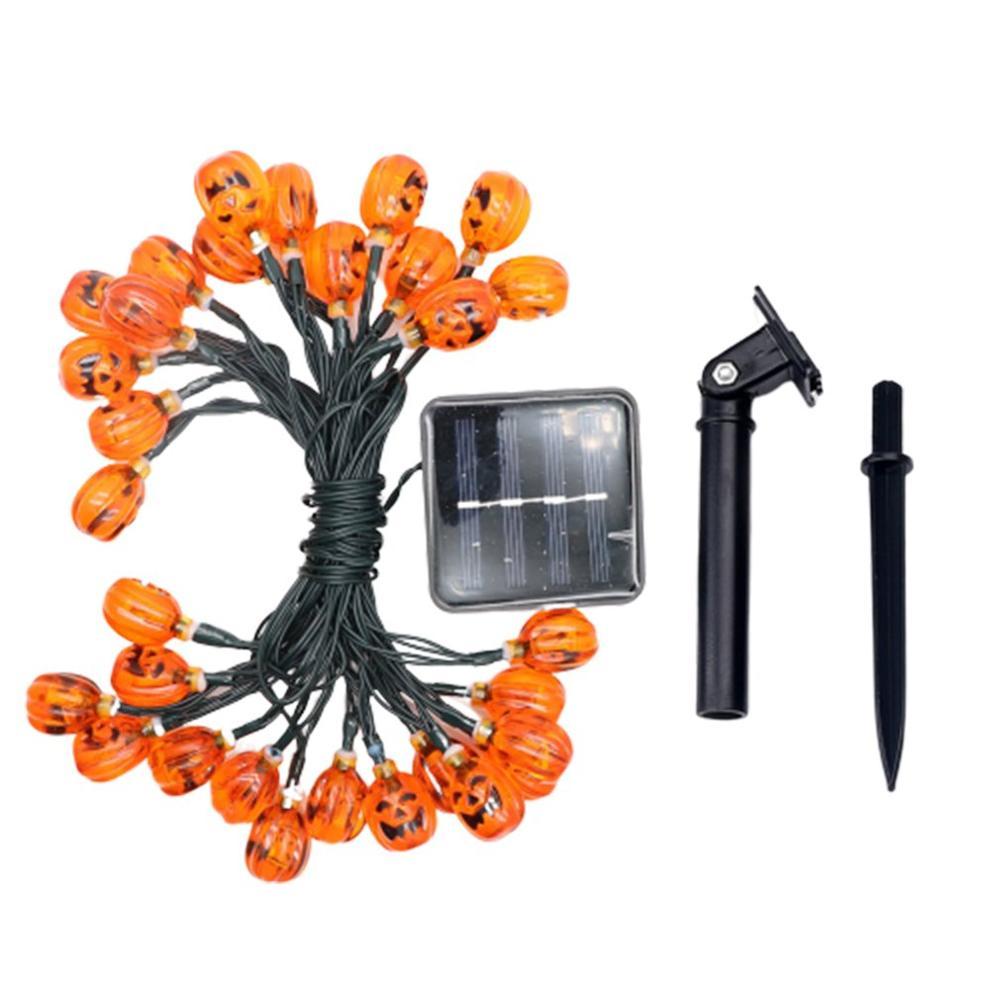 Solar Light String Outdoor 30LED Pumpkin Grimace Halloween Garden Landscape Decorative Lantern Light Control