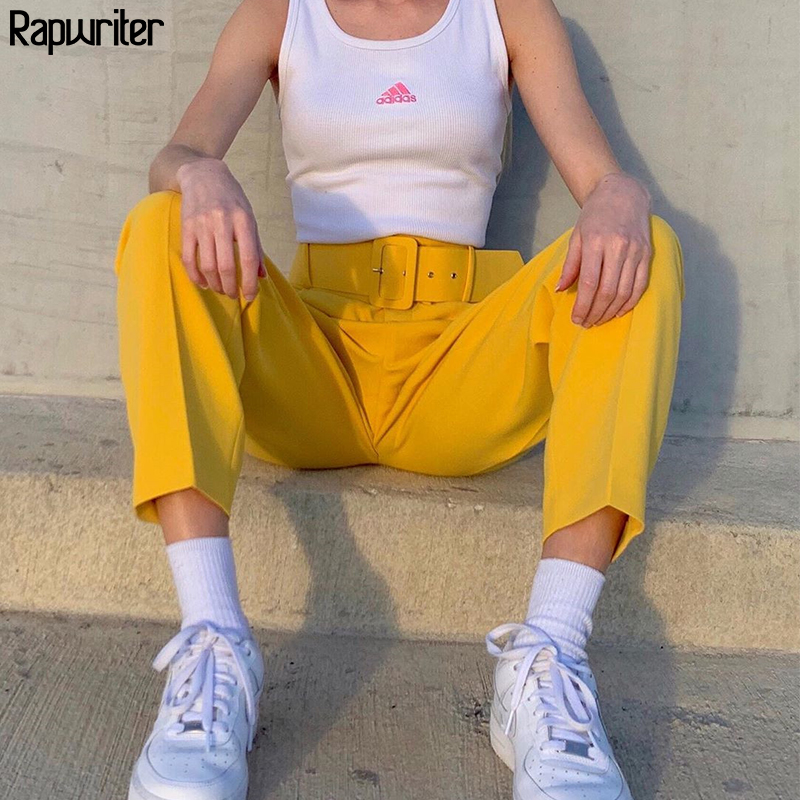 Rapwriter Streetwear Solid High Waist Pants Sashes Suit Pants With Pockets Harajuku Straight Trousers Loose Fashion Yellow Pant