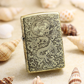 Genuine Zippo oil lighter copper windproof Chinese Dragon 3D engraving cigarette Kerosene lighters With anti-counterfeiting code