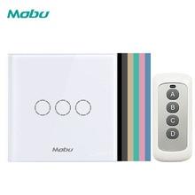 Interruptor de pared de lujo MOBU con Sensor, interruptor de luz estándar de la UE, interruptor de alimentación, cristal decorativo, interruptor de 3 entradas 1