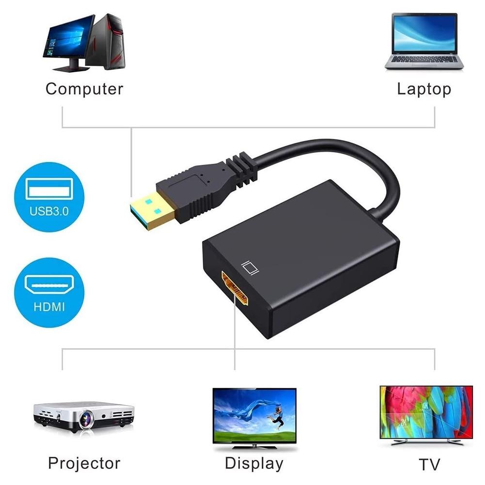 USB 3,0-HDMI адаптер 1080P Full HD внешняя видеокарта мультимонитор аудио видео конвертер кабель для Windows 7/8/10 ноутбука/ПК