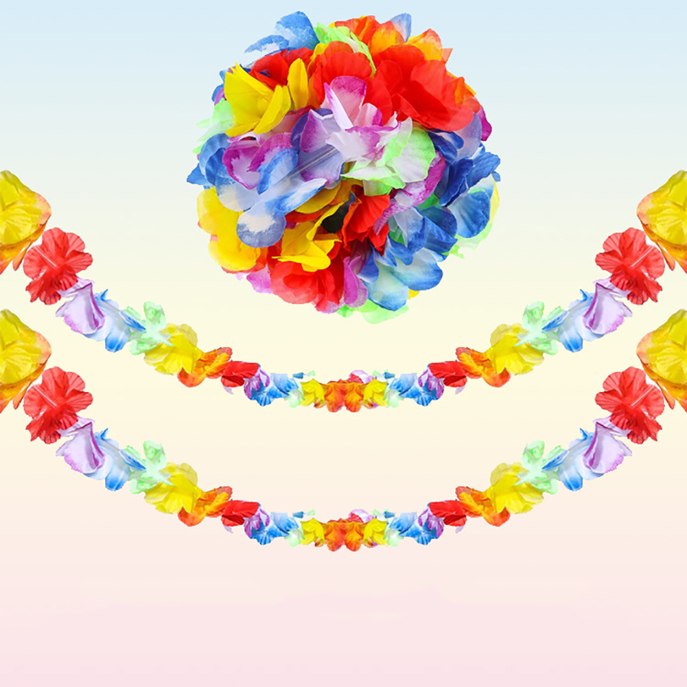 36Pcs Vibrantly Colored Hawaiian Leis Hula Faux Flower Garland Necklaces Headband Lei Party Favors Simple And Elegant Gifts Toys