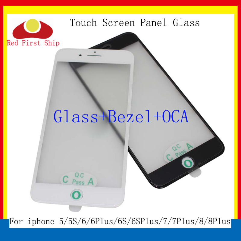 10Pcs/lot For iphone 8 7 6 Plus Touch Screen Panel Front Outer Glass With Bezel Frame OCA For iphone 5 5S 6S 8 LCD Glass 3 in 1 image