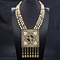 GuaiGuai Jewelry 22 2 Strands White Round Pearl CZ Ball Crystal Necklace Big Square CZ Gold Plated Pendant