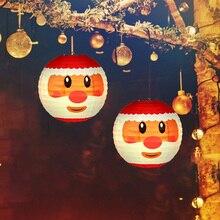 Paper Lantern Ball-Light Christmas-Ornaments New-Year Round for Happy Handmade Santa-Claus