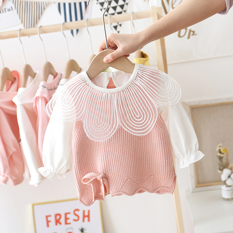 Tops Shirt Childrenswear Yarn Korean Spring Petal Collar Versatile Base Style Cotton Full Ruffles Baby Girls Two Pieces Solid