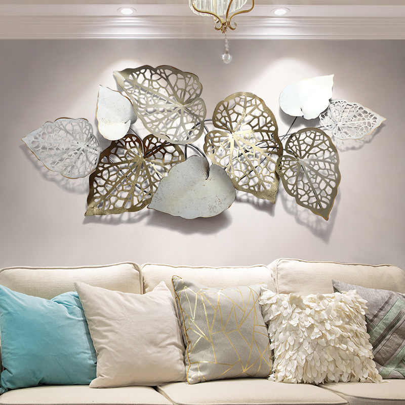 European Handmade Iron Art 3d Wall Decoration Creative Leaf Metal Wall Decor For Living Room Hotel Background Wall Ornaments Wind Chimes Hanging Decorations Aliexpress