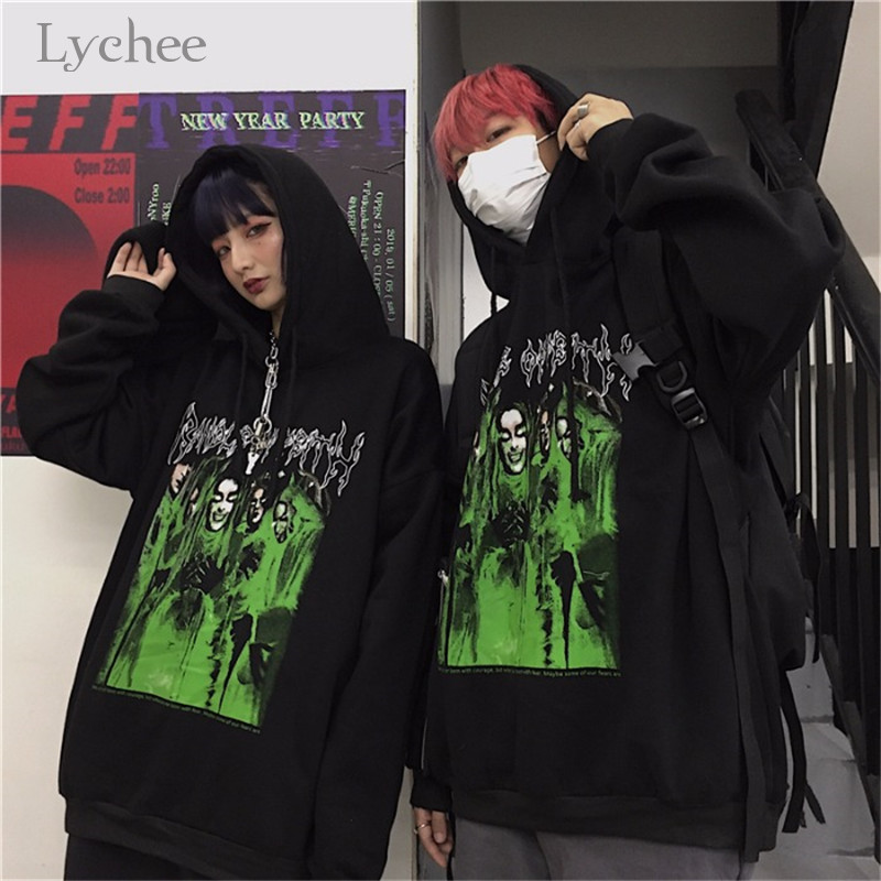 Lychee Harajuku Casual Loose Female Fleece Hoodies Dark Letter Character Women Fleece Hooded Sweatshirts Autumn Lady Fleece Tops