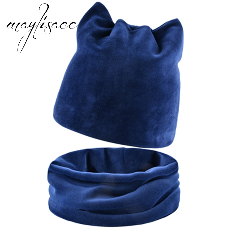 Maylisacc 6 Color Women Autumn Winter Fluff Hat Scarf Ring Female Scarves With Hat Suit Warm Hat Beanies&skullies Caps Clearance