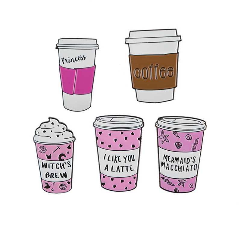 漫画かわいい金属ミルクコーヒーアイスクリームカップエナメル女性服ブローチバッジのためのファッションギフト子供